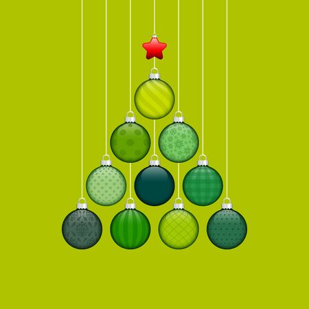Abstract Christmas Tree Made Of Baubles With Pattern Light Green Silver Red