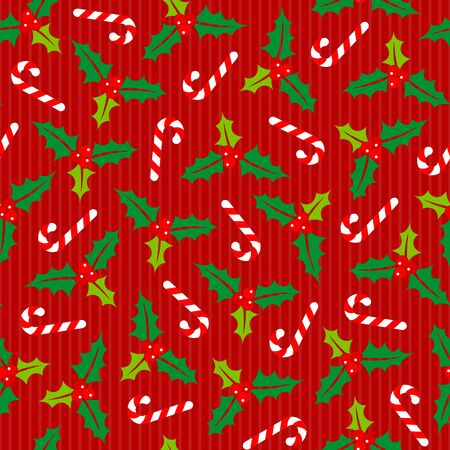 Big Seamless Pattern Holly And Candy Canes Stripes Red Green White Illusztráció