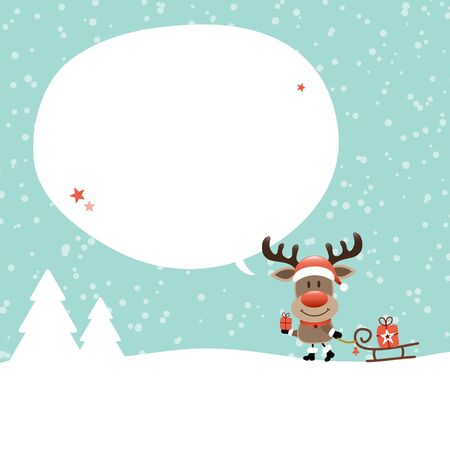 Reindeer With Sleigh Speech Bubble In Forest Snow Turquoise