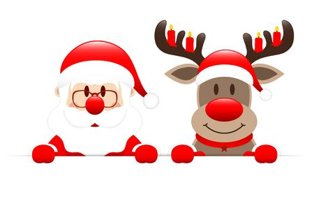 Santa Claus And Reindeer With Candles Holding Horizontal Banner Illusztráció