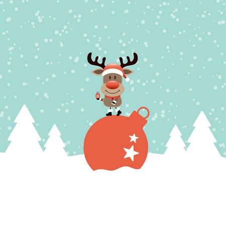 Reindeer On Christmas Bauble In Snow Forest Turquoise
