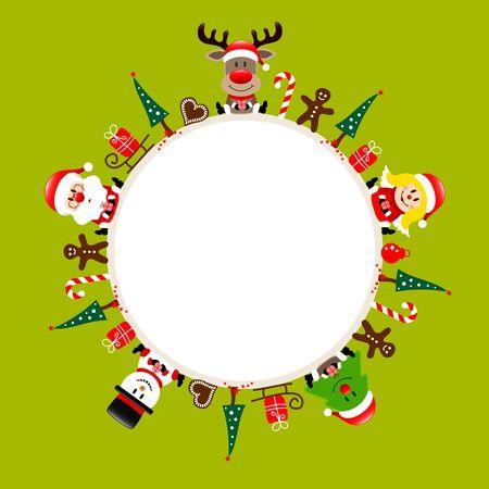 Round Christmas Frame Santa Reindeer Angel Tree And Snowman Icons Light Green
