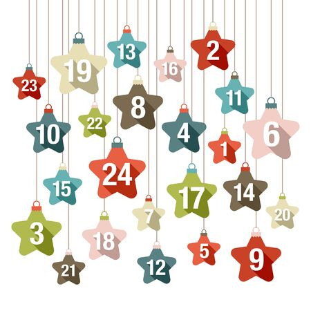 Square Advent Calendar Graphic Hanging Stars With Shadow Retro Color  イラスト・ベクター素材