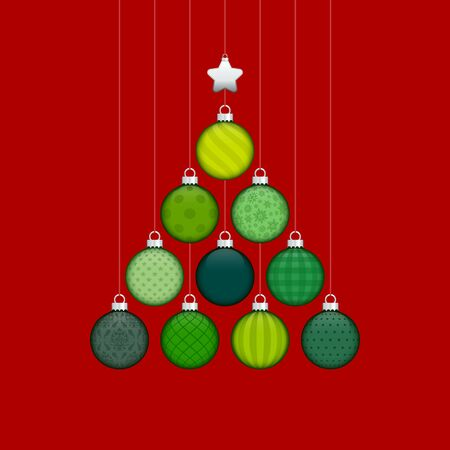 Abstract Christmas Tree Made Of Baubles With Pattern Green Silver Dark Red