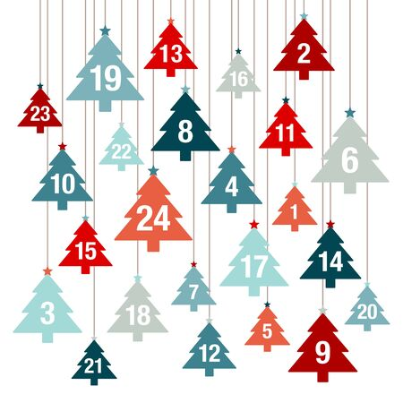 Advent Calendar Hanging Christmas Trees Red And Blue