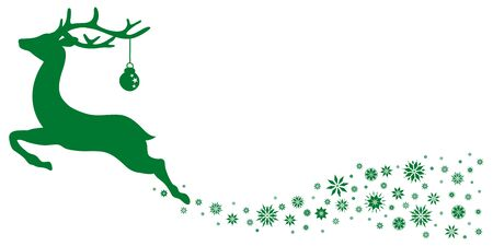 Green Flying Reindeer With Christmas Ball Looking Forward Stars