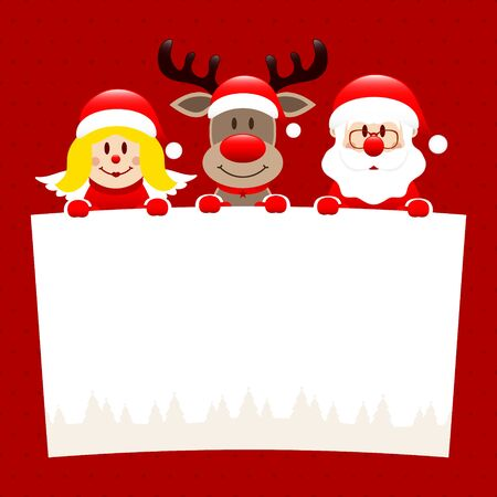 Angel Reindeer And Santa Holding Wish List Dots Red