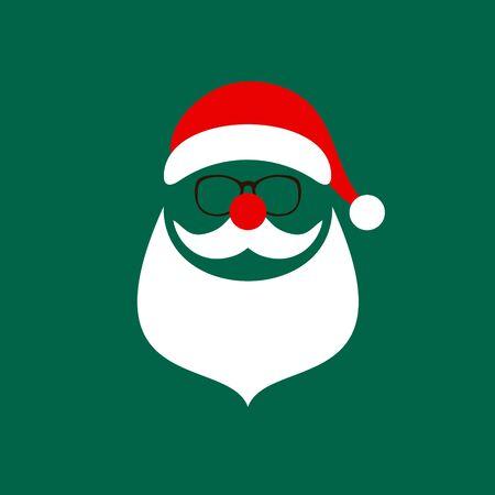 Square Christmas Card Abstract Santa Bear Bear And Glasses Red White Green Illusztráció