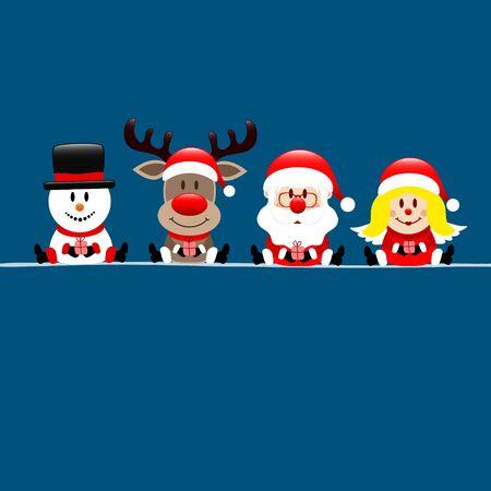 Dark Blue Square Card Snowman Reindeer Santa And Angel