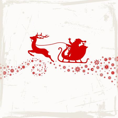 Red Christmas Sleigh One Reindeer With Snowflakes Scratches Beige Background