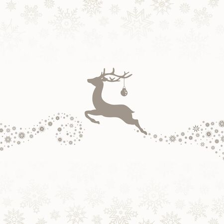 To The Left Flying Reindeer With Bauble Snowflakes Brown Beige
