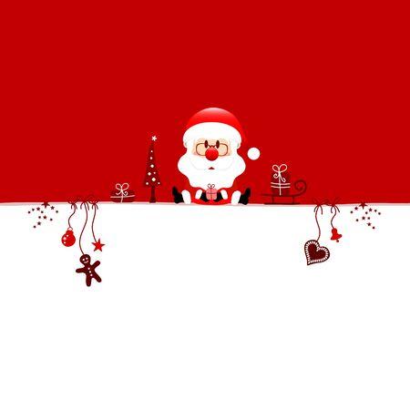 Half Square Card Christmas Sitting Santa Claus And Icons Red White Illusztráció