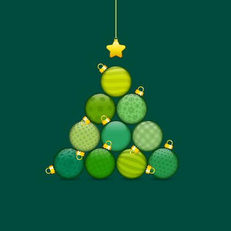 Christmas Tree Made Of Stapled Baubles With Pattern Green And Gold
