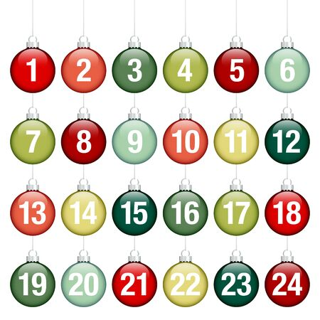 Advent Calendar Hanging Glossy Christmas Baubles Lines Red Green Silver