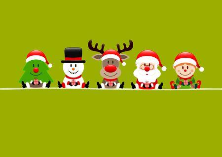 Light Green Card Tree Snowman Reindeer Santa And Elf Illusztráció