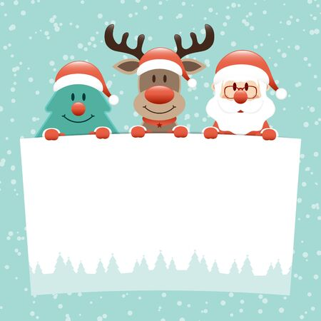 Christmas Tree Reindeer And Santa Claus Holding Wish List Snow Turquoise