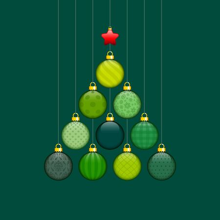 Christmas Tree Made Of Green Baubles With Pattern And Red Star Gold