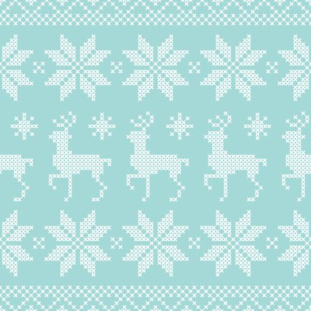 Seamless Pattern Norwegian Style Embroidery Reindeers Lines Turquoise White