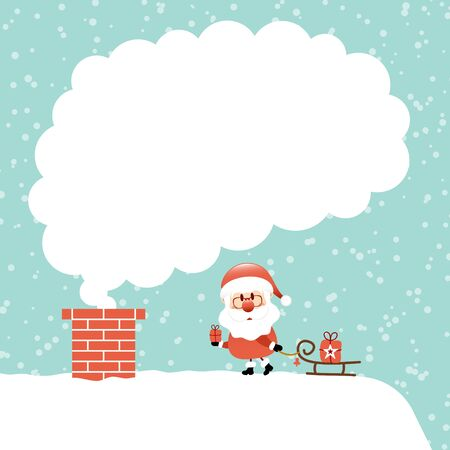 Santa Claus With Sleigh On Cloud Cloud Of Smoke Snow Turquoise