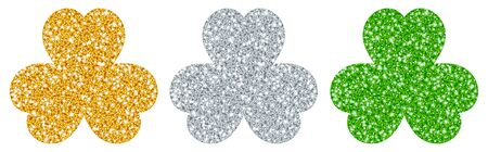 Set Of Three Straight Three-leaf Shamrocks Glitter Gold Silver Green Vettoriali