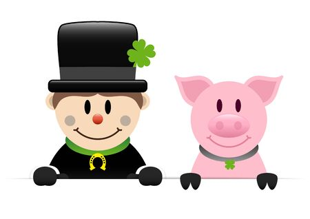 Chimney Sweep Golden Horseshoe And Pig Holding Horizontal Banner