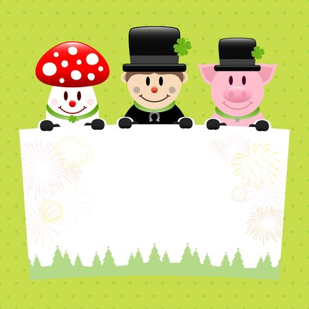 Fly Agaric Chimney Sweep And Pig With Label Dots Green Vettoriali