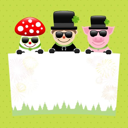 Fly Agaric Chimney Sweep And Pig With Sunglasses Holding Label Dots Green