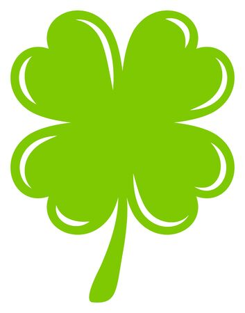 Single Graphic Shamrock Four Leaves Light Shine Green Stock fotó - 136142154