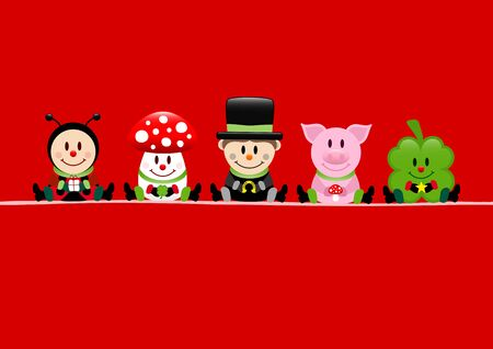 Red Card Ladybug Fly Agaric Chimney Sweep Pig And Cloverleaf