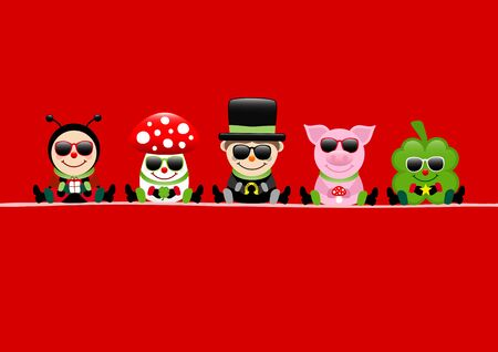 Red Card Ladybug Fly Agaric Chimney Sweep Pig And Cloverleaf Sunglasses