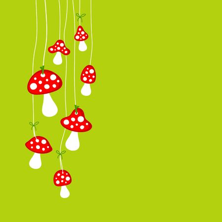Left Hanging Big And Little Fly Agarics Green Vettoriali