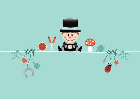 Card Sitting Chimney Sweeper And Icons Turquoise Vettoriali