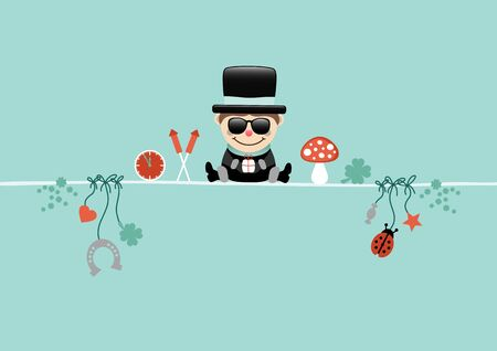 Card Sitting Chimney Sweeper With Sunglasses And Icons Turquoise Vettoriali