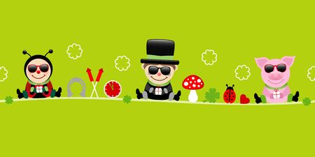 Banner Ladybug Chimney Sweep And Pig With Sunglasses Icons New Years Eve Green