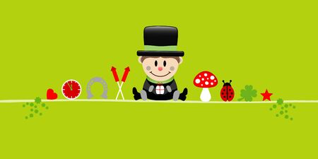 Banner Sitting Chimney Sweeper And Icons Light Green Vettoriali