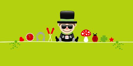Banner Sitting Chimney Sweeper With Sunglasses And Icons Light Green