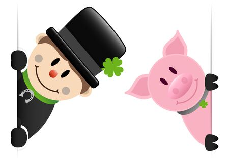 Big Chimney Sweep And Pig Looking Inside Banner
