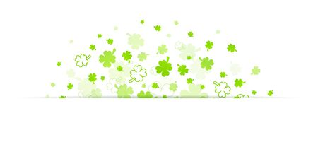 Light Green Big And Little Clover Leaves Half Circle With Banner