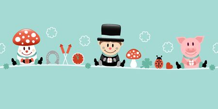 Fly Agaric Chimney Sweep And Pig Icons New Years Eve Turquoise