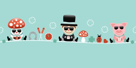 Fly Agaric Chimney Sweep And Pig With Sunglasses Icons New Years Eve Turquoise Vettoriali