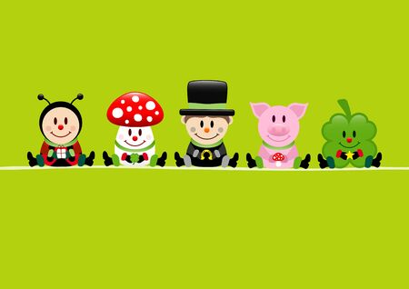 Green Card Ladybug Fly Agaric Chimney Sweep Pig And Cloverleaf