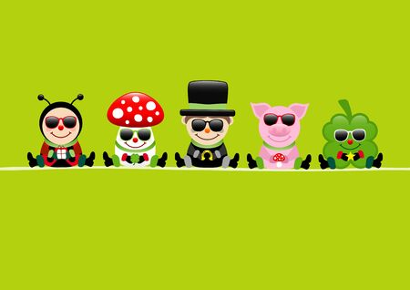 Green Card Ladybug Fly Agaric Chimney Sweep Pig And Cloverleaf Sunglasses
