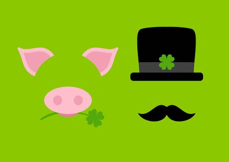Green Card Abstract Graphic Pig And Chimney Sweep Vettoriali