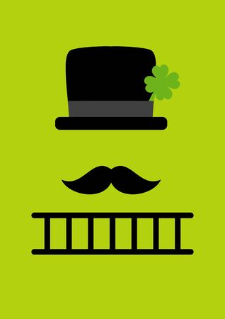 Card Abstract Chimney Sweep With Ladder Green