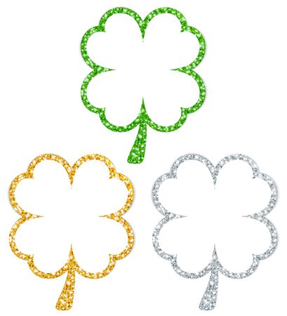 Set Of Three Straight Framed Shamrocks Sparkling Gold Silver Green