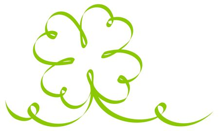 Big Calligraphy Single Green Shamrock Ribbon Two Swirls Vettoriali
