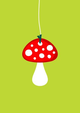 Single hanging graphic big fly agaric green