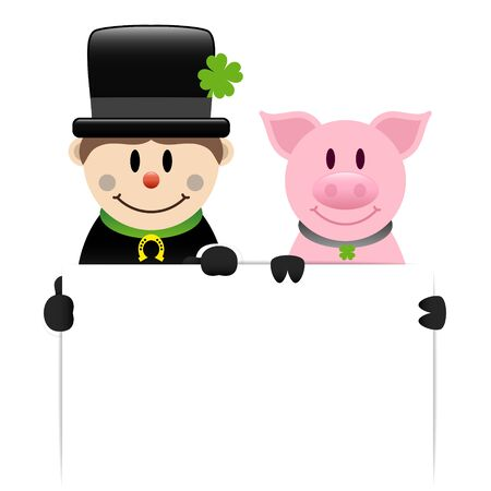 Chimney Sweep And Pig Holding White Label