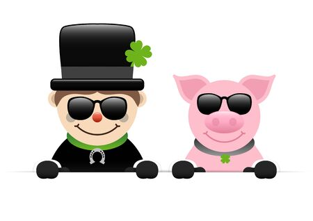 Chimney Sweep And Pig Holding Sunglasses Horizontal Banner