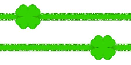 Two Horizontal Glitter Ribbons With Shining Clover Leafs Green